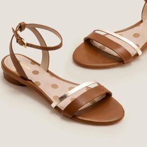 Boden Freya Sandals Brown Gold Ankle Straps